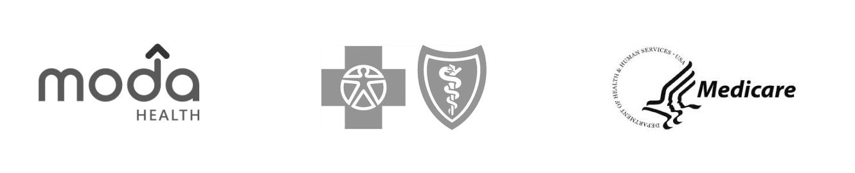 Insurance provider logos - Moda Health, EOCCO, TriWest, Blue Cross Shield, Medicare.